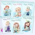Pretty Young Lassies Birthday Card Front Set