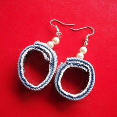 Dale - Denim & pearl ear drops