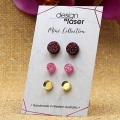 Mini Earring Studs - Acrylic - Glitter Deep Red, Glitter Pink & Mirror Gold