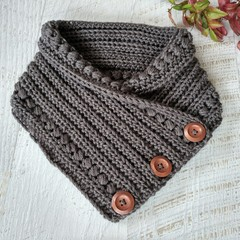 Charcoal Grey Adult Vintage Hand Crochet Knitted Buttoned Neckwarmer Cowl Scarf