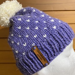 Knitted purple beanie cream PomPom slouchy