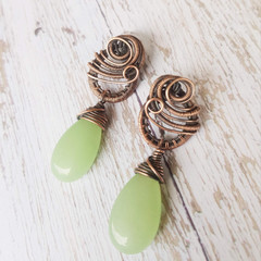 Copper Wire wrapped aventurine drop post earrings- copper anniversary gift for w
