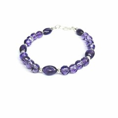 Sterling Silver and Purple Amethyst Bracelet, February Birthstone