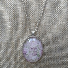 PINK GLASS OVAL CAMEO SILVER CHAIN, PENDANT  JEWELLERY, LONG NECKLACE OOAK