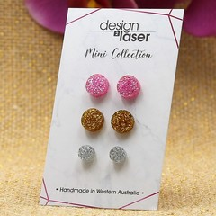 Mini Earring Studs - Glitter Acrylic - Pink, Gold & Silver