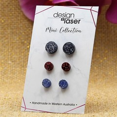 Mini Earring Studs - Glitter Acrylic - Black, Deep Red & Blue