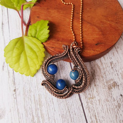 Blue stone statement pendant necklace and glasses chain jewellery natural copper