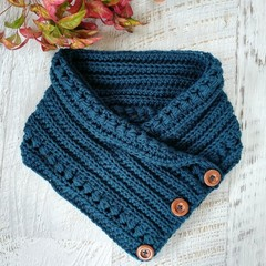 Teal Adult Vintage Hand Crochet Knitted Buttoned Neckwarmer Cowl Scarf