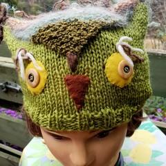 Owl beanie in green  tones