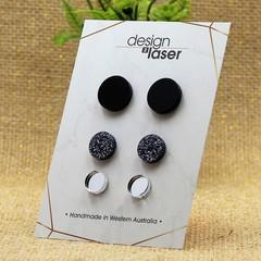 Earring Studs - Acrylic - Glossy Black, Black Glitter & Mirror Silver