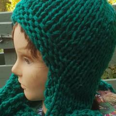Jade green helmet scarf