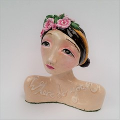 my lovely, ceramic bust figure girl whimsical