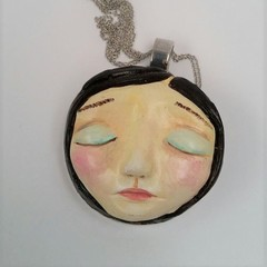 Sleeping Beauty face pendant hand painted unique