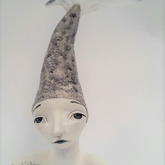 Ceramic bust, clay, girl mermaid fish