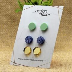 Earring Studs - Acrylic - Pastel Green, Glitter Blue & Mirror Gold