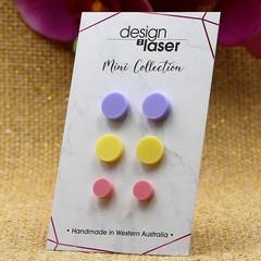 Mini Earring Studs - Pastel Acrylic - Purple, Yellow & Pink