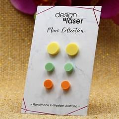 Mini Earring Studs - Pastel Acrylic - Yellow, Green & Orange
