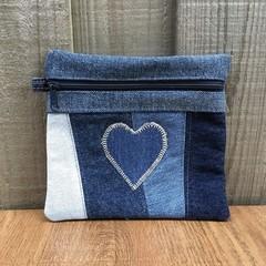 Upcycled Blue Heart Denim Purse