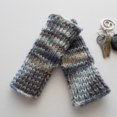 Blue Tube Mitts in Soft Acrylic Yarn - Adult Hand Size