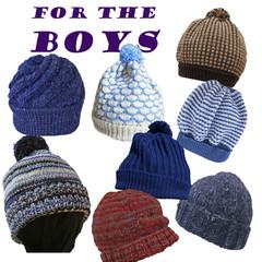 Beanies for the boys, handknit,