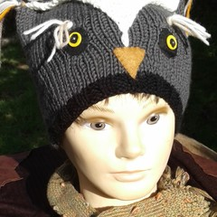Owl beanie in grey and white