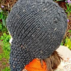 Woollen  grey flecked helmet