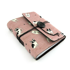 Pink Boston Terrier Dog Lined Journal, Notebook, Handbound Book, Dream Journal