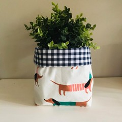Large fabric planter | Storage basket | SAUSAGE DOGS