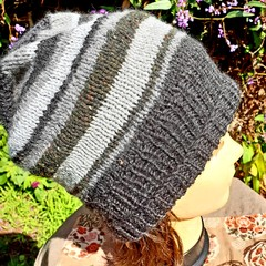 Slouchy with varied grey stripes