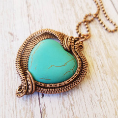 Turquoise magnesite heart statement copper woven pendant necklace jewellery