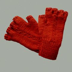 Half-Finger Gloves in Burnt Orange For Small Size Adult Hand