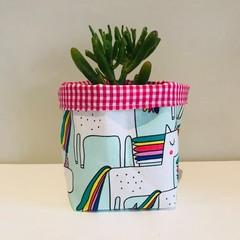 Small fabric planter | Storage basket | UNICORNS