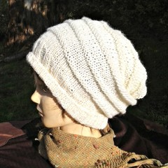 White slouchy in beehive style