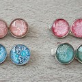 FOUR PAIRS OF WOMENS CLIP ON EARRINGS, GREEN, BLUE, PINK, DUSTY PINK CLIP ON