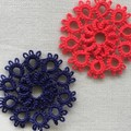 SALE! Tatting lace earrings with pearl beads (circular, coloured)