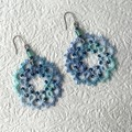 Tatting lace earrings with beads (coloured)
