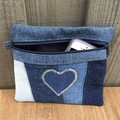 Upcycled Blue Heart Denim Purse