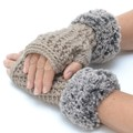 Fingerless Mittens With Faux Fur Cuff