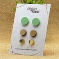 Earring Studs - Acrylic & Bamboo - Pastel Green, Bamboo & Mirror Gold