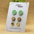 Earring Studs - Acrylic & Bamboo - Pastel Green, Bamboo & Mirror Gold