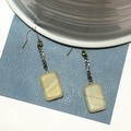 SALE! Glass bead earrings with chain (rectangular, coloured)