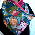 Botanical Collar Scarf Teal with brooch