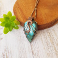 Labradorite statement pendant necklace jewellery natural copper wire wrapped