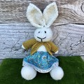 Ruby  the Knitted Bunny Rabbit Toy with Floral Skirt and Mustard Cardigan
