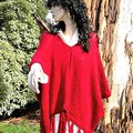 Poncho in maroon pure wool