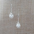 WHITE PEARL DANGLE DROP EARRINGS, SILVER PEARL EARRINGS, BRIDE EARRINGS