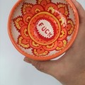 F*ck bowl gift, unique handmade red orange clay hand painted