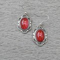 RED MOTTLED GLASS STONE DANGLE EARRINGS, SILVER AND RED EARRINGS, FILIGREE EARRI
