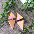 Geometric Polymer Clay Marble Stud Statement Earrings