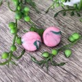 Geometric Polymer Clay Circle Stud Statement Earrings